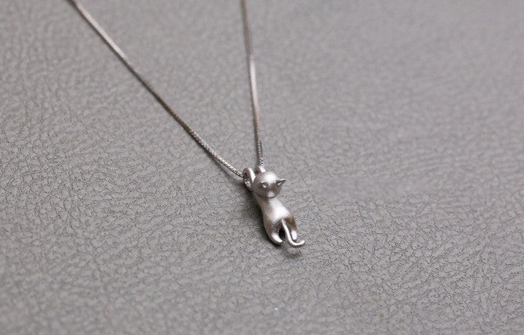Sterling silver necklaces with cat pendants we live for cats sterling silver necklaces with cat pendants mozeypictures Choice Image