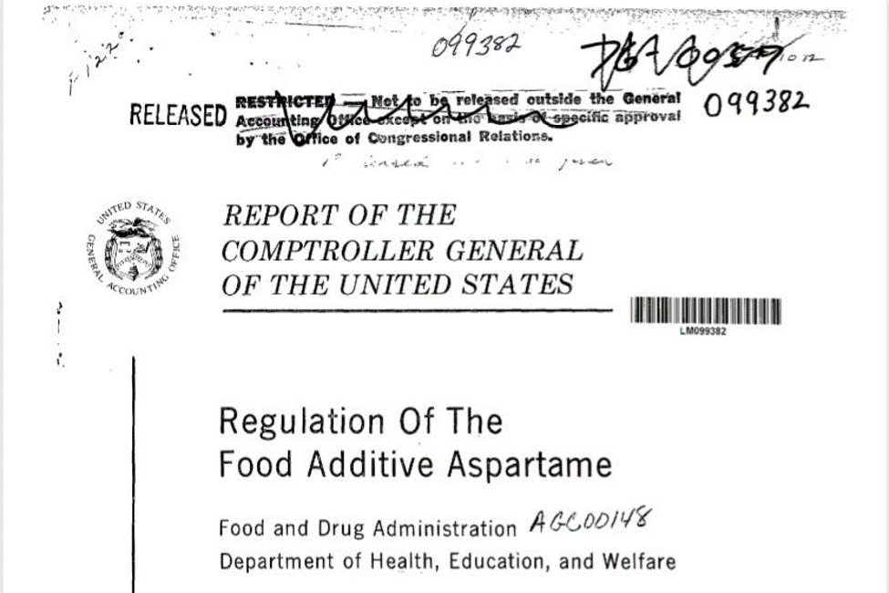 1987 GAO aspartame report