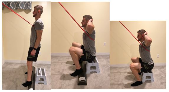 Assisted Squat with Band Heels Raised to Stool