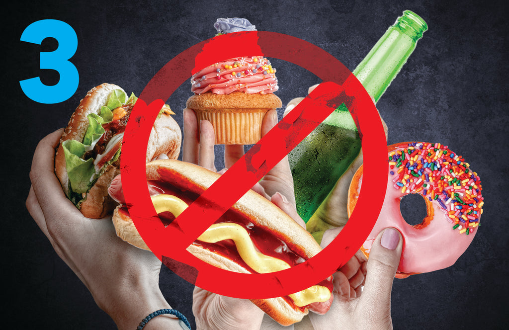 A Burger, Hot Dog, and Cupcake, covered with the international symbol for No