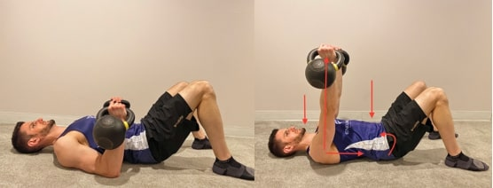 Floor Press with Abdominal Bracing and Head Turns
