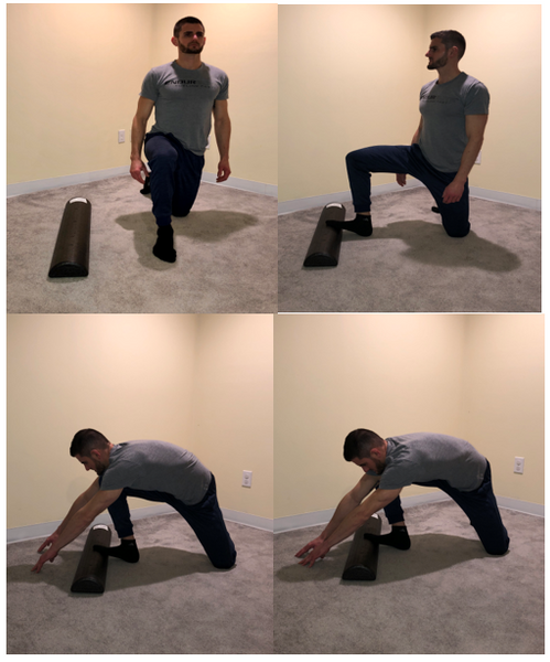 Half Kneel Dorsiflexion Mobilization with Half Foam Roll