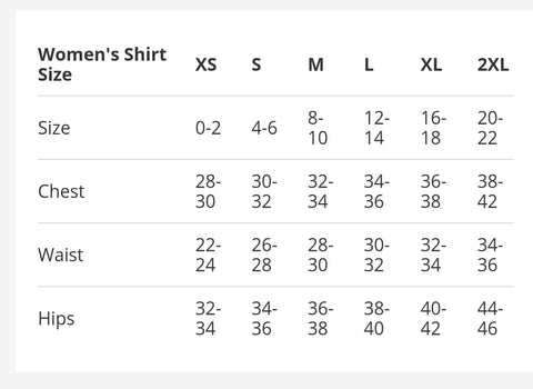 EndurElite women's sizing chart
