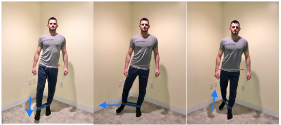 standing three way hip kick exercise