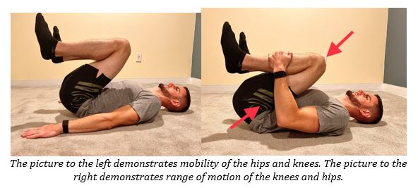 supine active and passive knee and hip mobility test