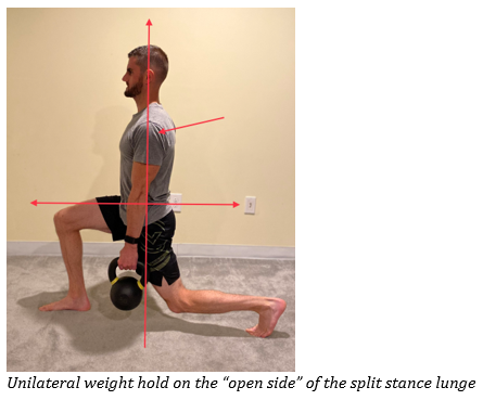unilateral weight hold with split stance lunge