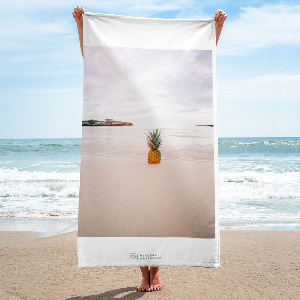 "Beach Towel ""Fineapple"" in White by Mercer + Westwood-Mercer + Westwood-Mercer + Westwood"