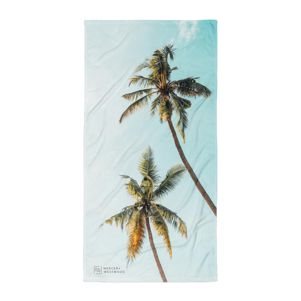 "Beach Towel ""Tropic Palms"" in White by Mercer + Westwood-Mercer + Westwood-Mercer + Westwood"