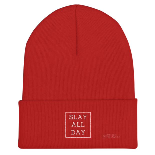 """Slay All Day"" Cuffed Beanie by Mercer + Westwood-Beanie-Mercer + Westwood-Red-Mercer + Westwood"