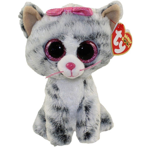 TY Chat Gris Kiki Beanie Boos Medium 37075