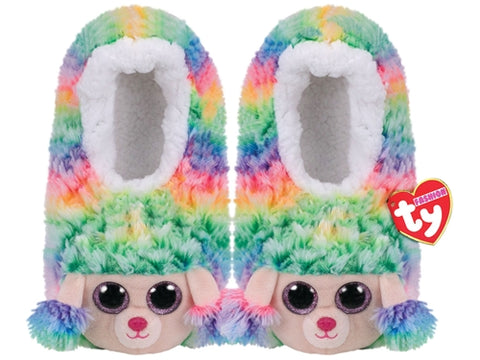 TY Pantoufles Fashion Slipper Socks Large Rainbow