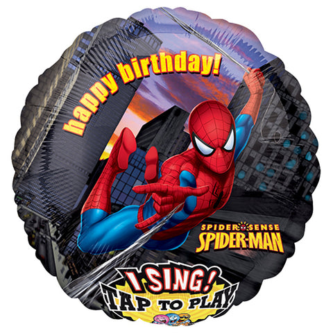 Singing Balloon Spiderman 28 pouces Birthay greeting- Helium St-Sauveur - La Boîte à Surprises de Nicolas