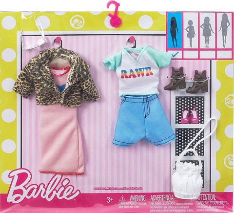 Barbie  Linge Robe Manteau Léopard et ensemble short