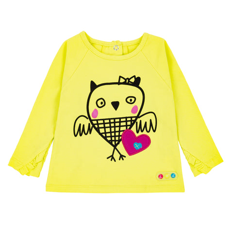 Chandail Hibou jaune Owl You need is love Deux par Deux A20C71 col. 332