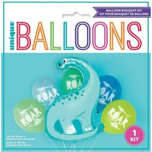 Kit pour bouquet ballons dinosaure metal et 5 ballons latex 73887