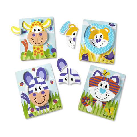 Ensemble 4 puzzle en bois Safari Pieces epaisses