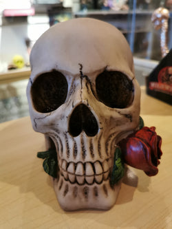 Skull and rose money box.