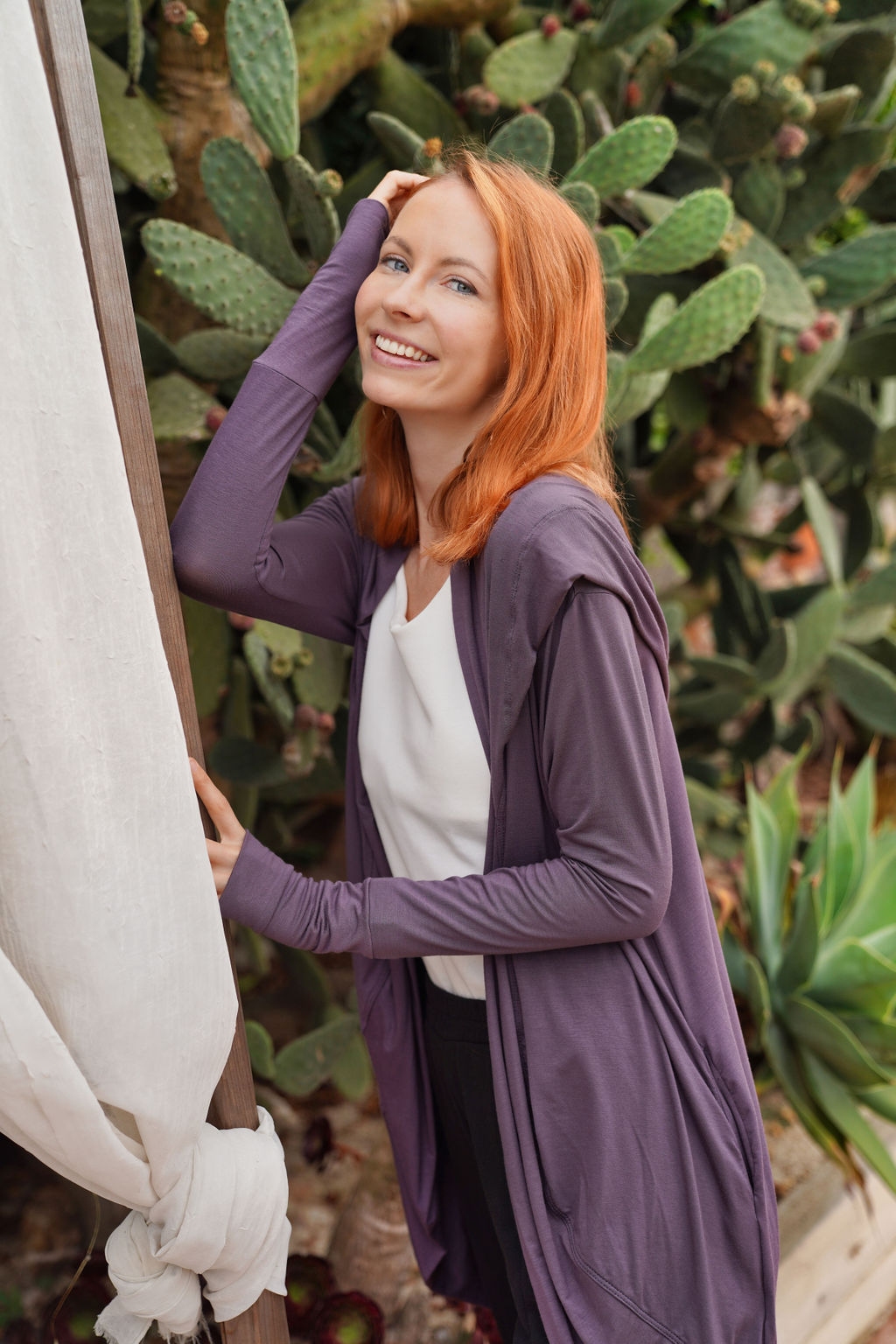 Hoodie Cardigan- Dusty Purple