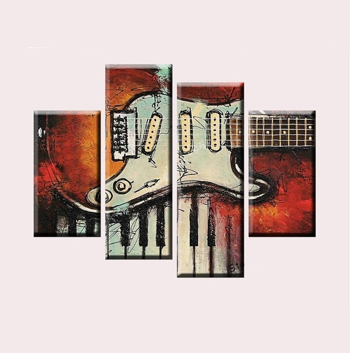 Four Piece Music Canvas - Abstract Stratocaster