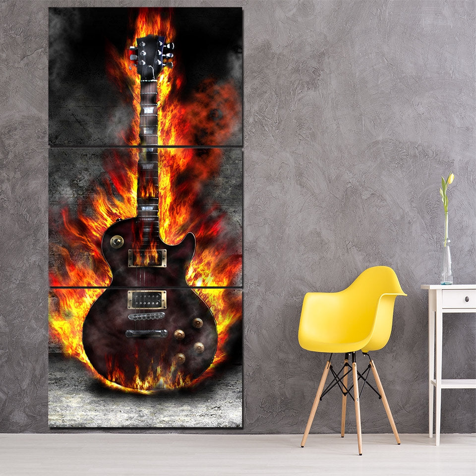 Three Piece Music Canvas - Burning Guitar