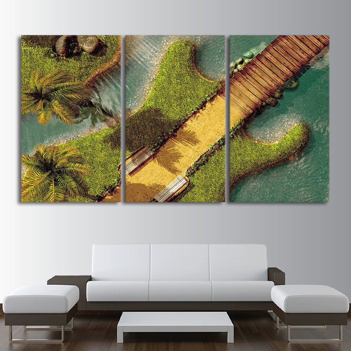 Three Piece Music Canvas - Guitar Island