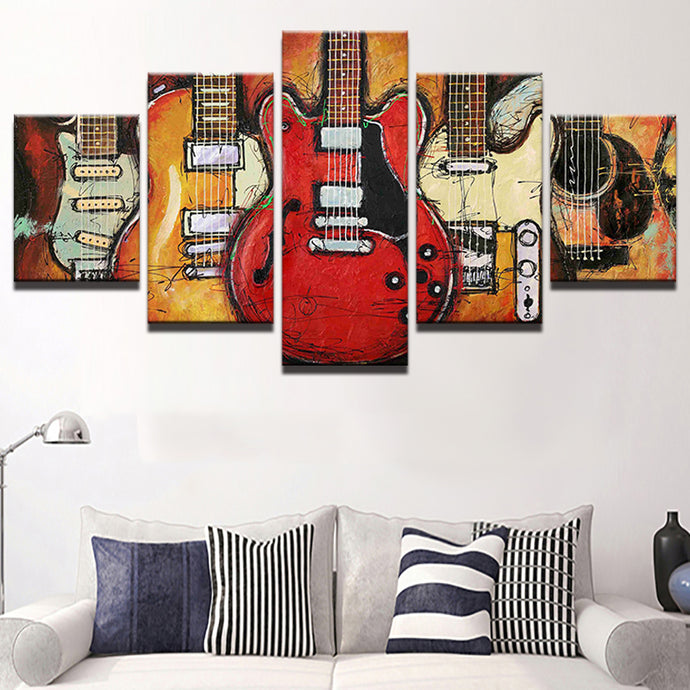 Five Piece Music Canvas - Abstract Guitar Paitings