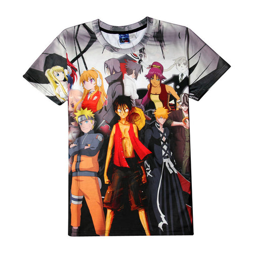 One Piece & Naruto Short Sleeve 3D Printed Sportswear T-Shirt