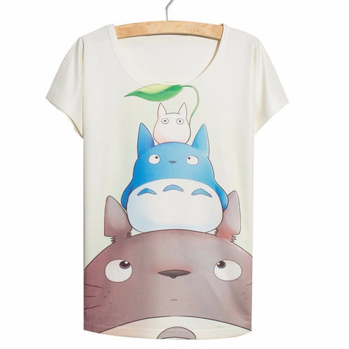 Thin Loose Cute Kawaii Totoro Anime Women's 3D T-Shirt