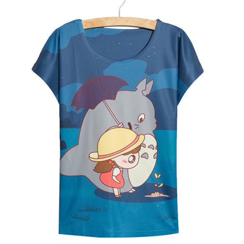 Thin Loose Cute Kawaii Totoro Plant Anime Women's 3D T-Shirt