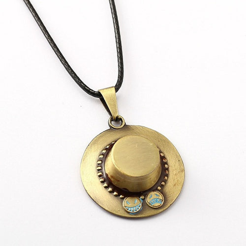 One Piece Ace Hat Metal Alloy Necklace