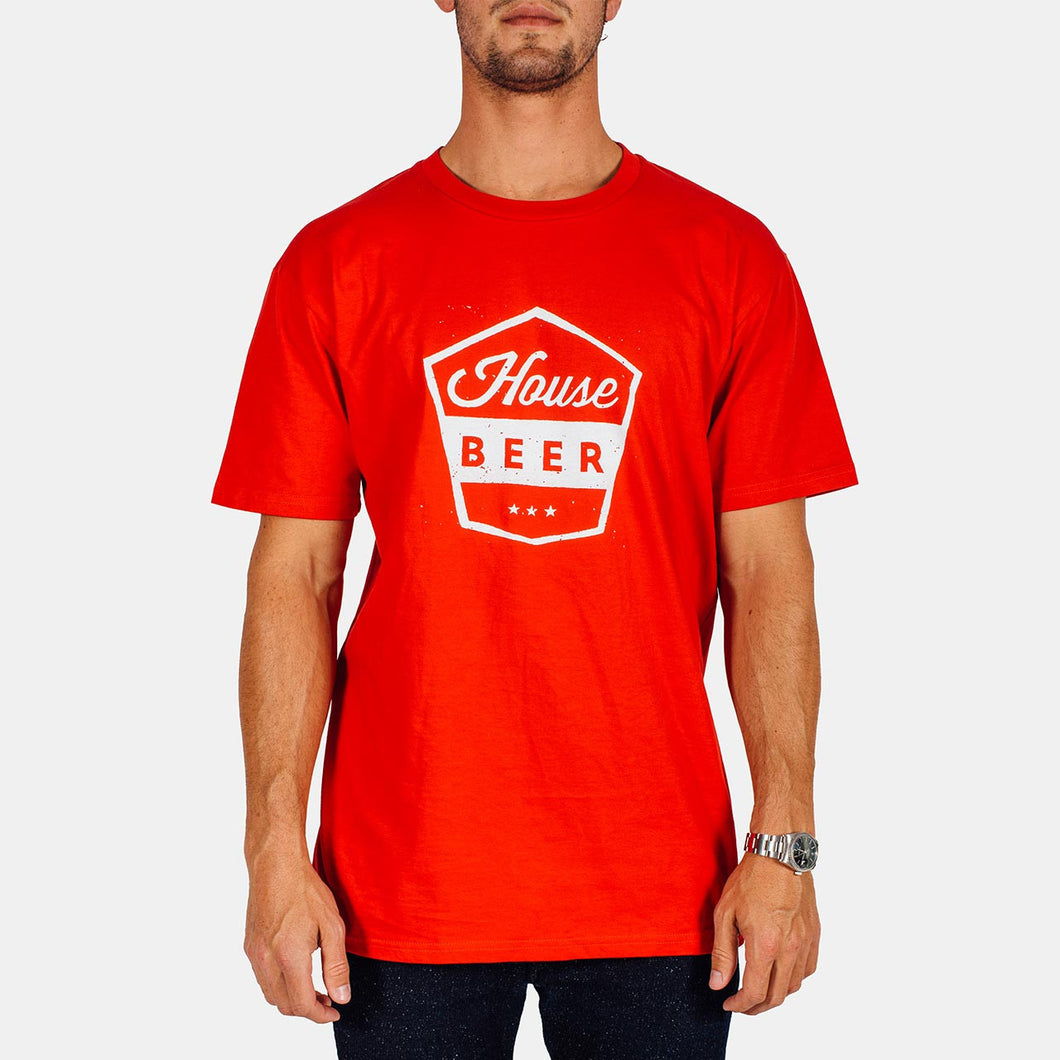 House Beer - White Badge on Red Tee