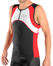 mens triathlon top red