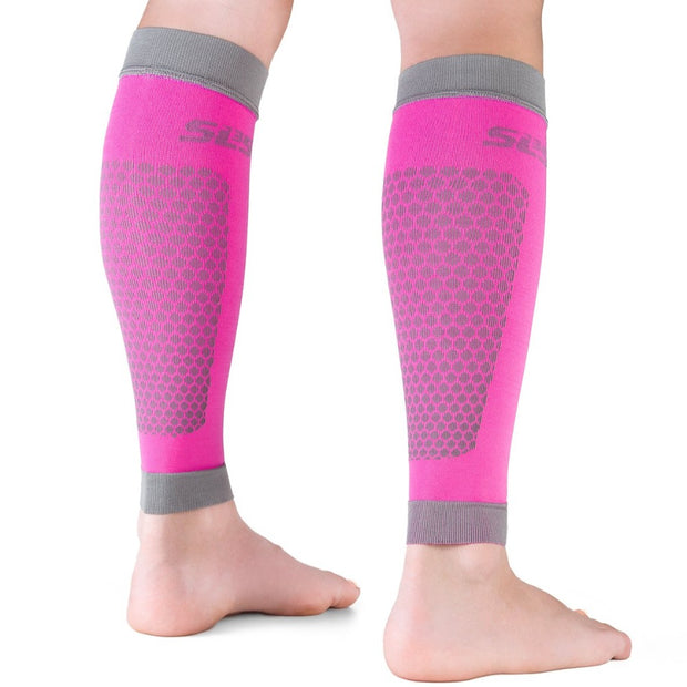 pink compression sleeves leg