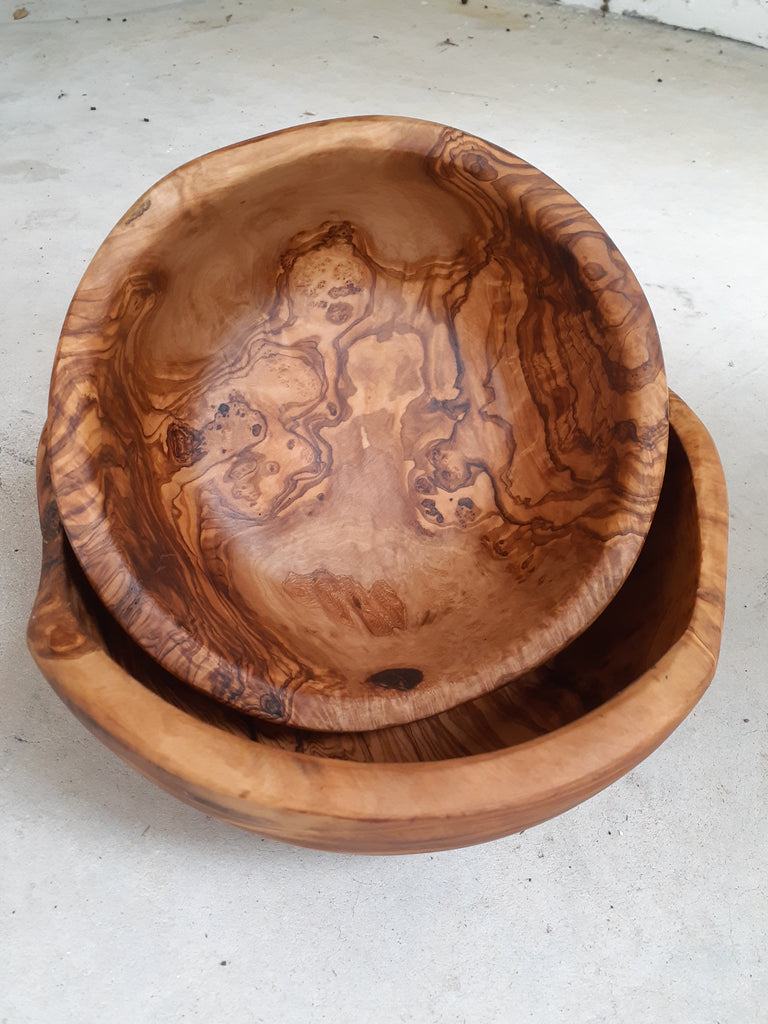 Set of two olive wood bowls