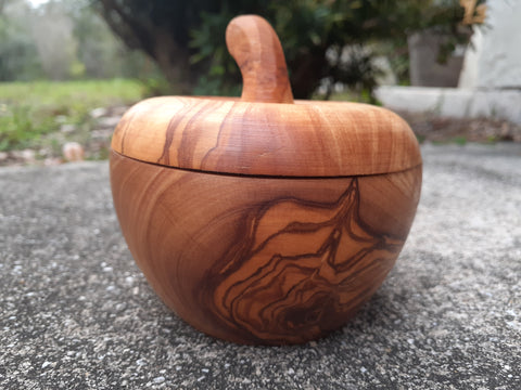 Olive wood canister, apple shape