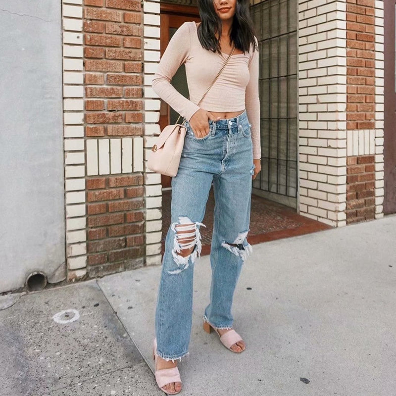 Vintage Ripped Mom Jeans