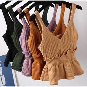 Knitted Ruffle Tank Top