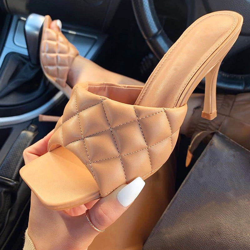 "These trendy, square-toe pumps flaunt designer qualities, without the designer price tag! With a faux-leather quilted top and rubber insoles, you will definitely stand out in these sophisticated slip on heels. Fits true to size. 4"" outside heel height. No platform. Imported."