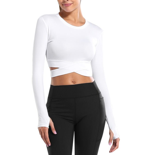 Long-Sleeve Cross Hem Crop Top