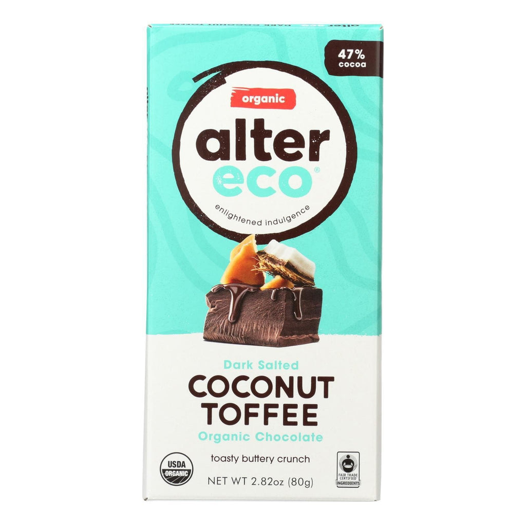 Alter Eco Americas Chocolate Alter Eco Americas Organic Chocolate Bar - Dark Coconut Toffee - 2.82 Oz Bars - Case Of 12