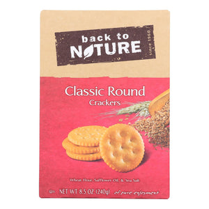 Back To Nature Crackers & Crispbreads Back To Nature Classic Round Crackers - Safflower Oil And Sea Salt - Case Of 6 - 8.5 Oz.