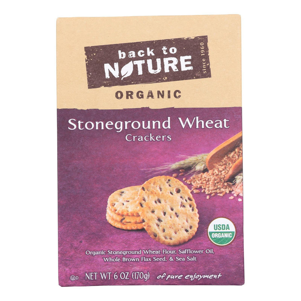 Back To Nature Crackers & Crispbreads Back To Nature Crackers - Organic Stoneground Wheat - Case Of 6 - 6 Oz.