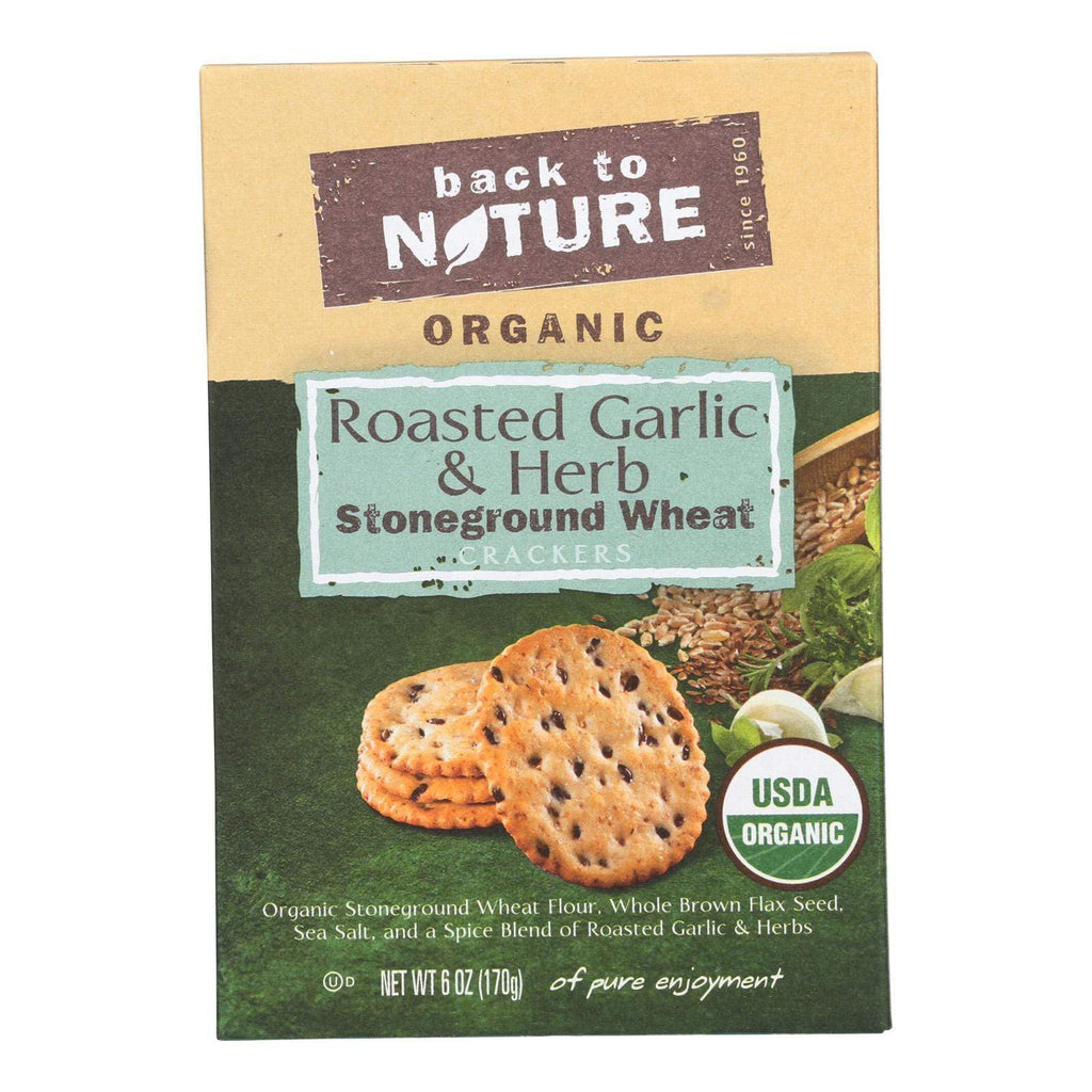 Back To Nature Crackers & Crispbreads Back To Nature Crackers - Roasted Garlic And Herb Stoneground Wheat - Case Of 6 - 6 Oz.