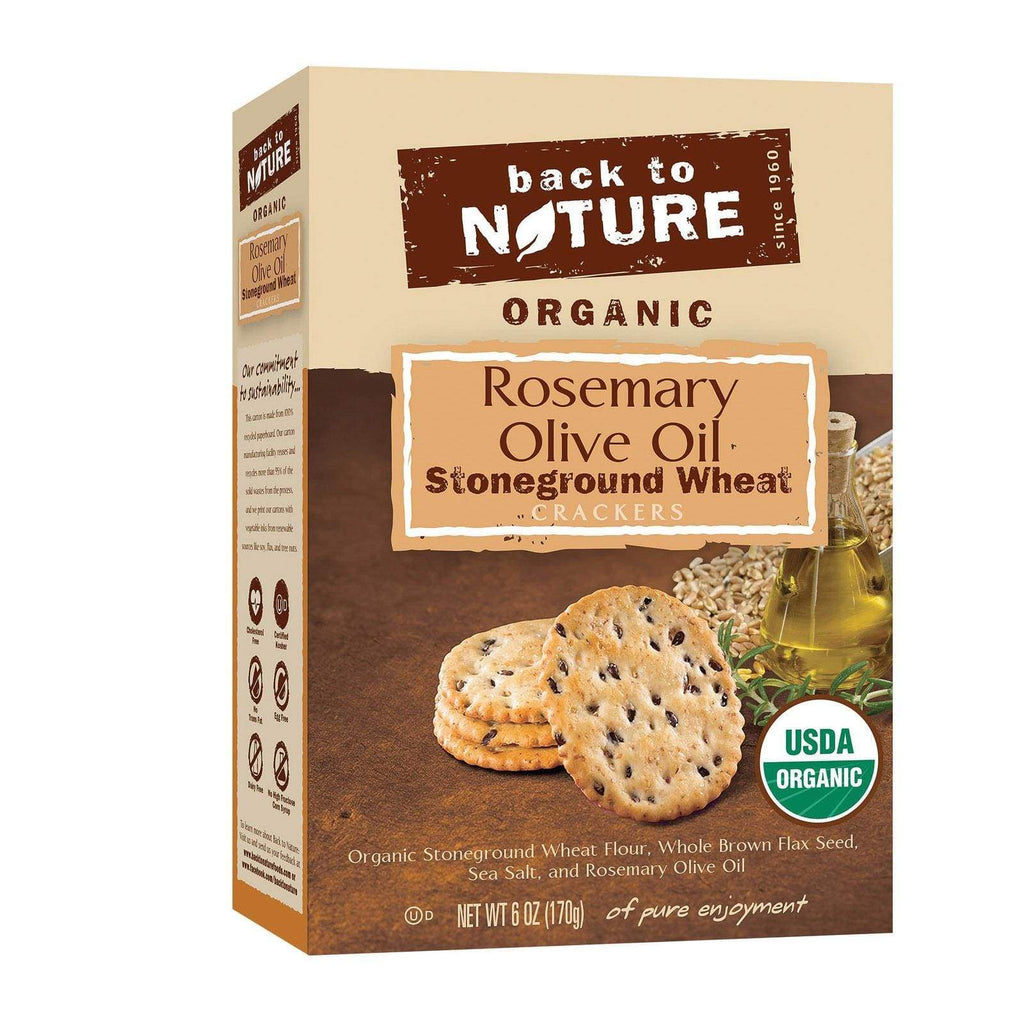 Back To Nature Crackers & Crispbreads Back To Nature Crackers - Rosemary And Olive Oil Stoneground Wheat - Case Of 6 - 6 Oz.