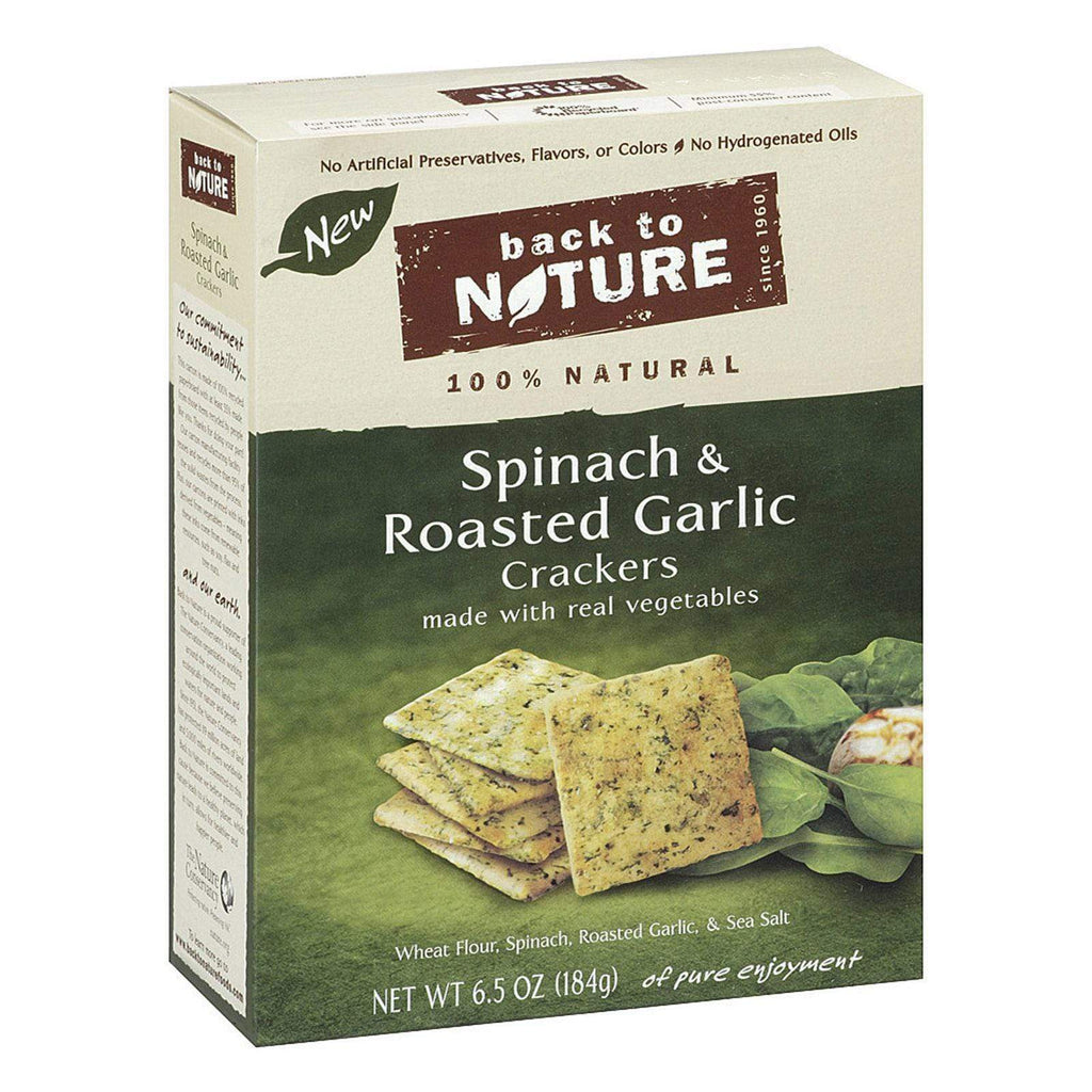 Back To Nature Crackers & Crispbreads Back To Nature Spinach And Roasted Garlic Crackers - Spinach, Roasted Garlic And Sea Salt - Case Of 6 - 6.5 Oz.