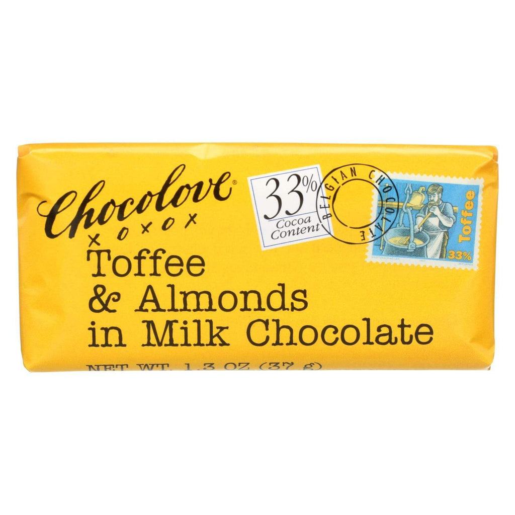 Chocolove Xoxox Chocolate Chocolove Xoxox Premium Chocolate Bar - Milk Chocolate - Toffee And Almonds - Mini - 1.3 Oz Bars - Case Of 12