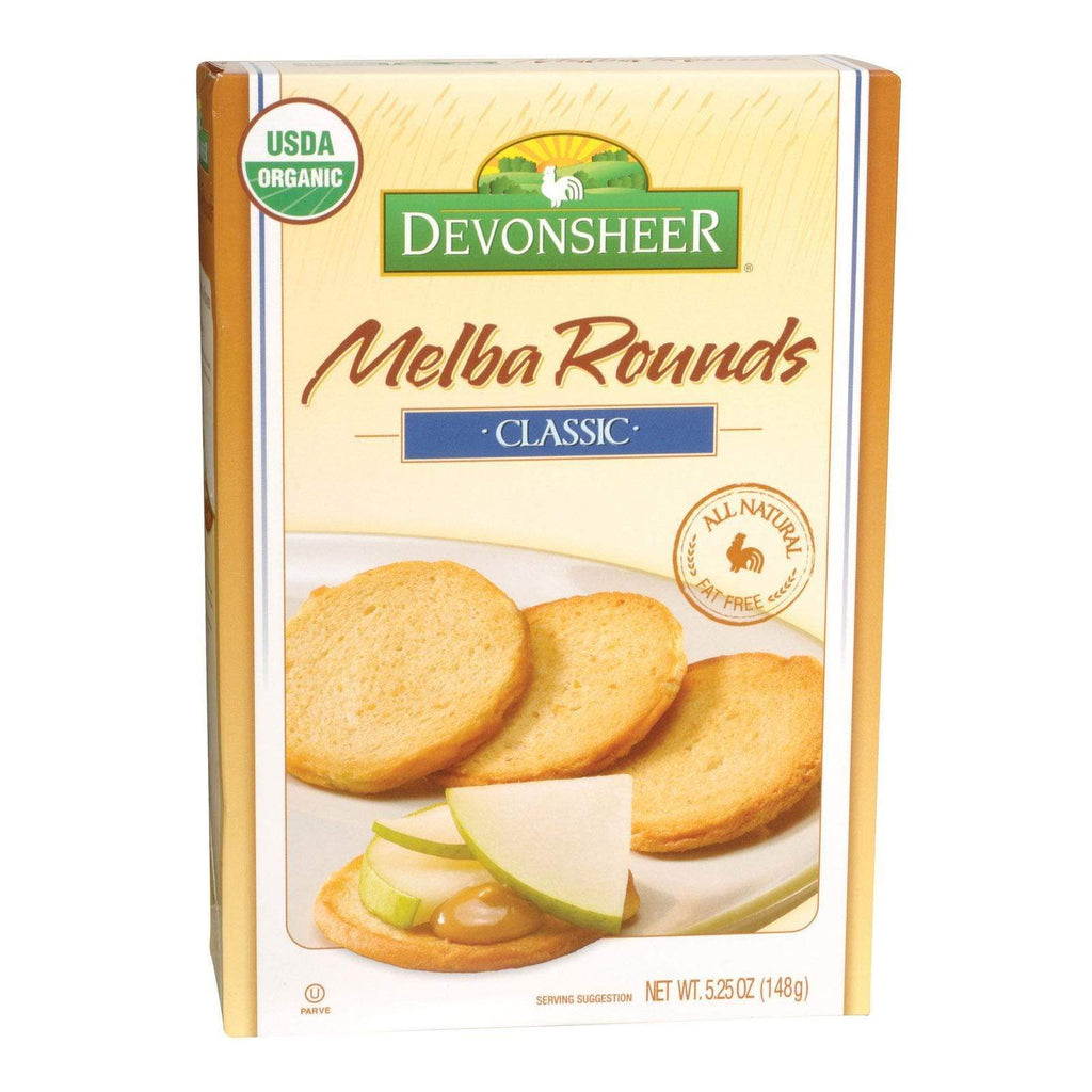 Devonsheer Crackers & Crispbreads Devonsheer Organic Plain Melba Rounds - Case Of 6 - 5.25 Oz.