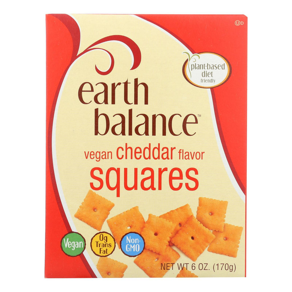 Earth Balance Crackers & Crispbreads Earth Balance Vegan Squares - Cheddar - Case Of 6 - 6 Oz.