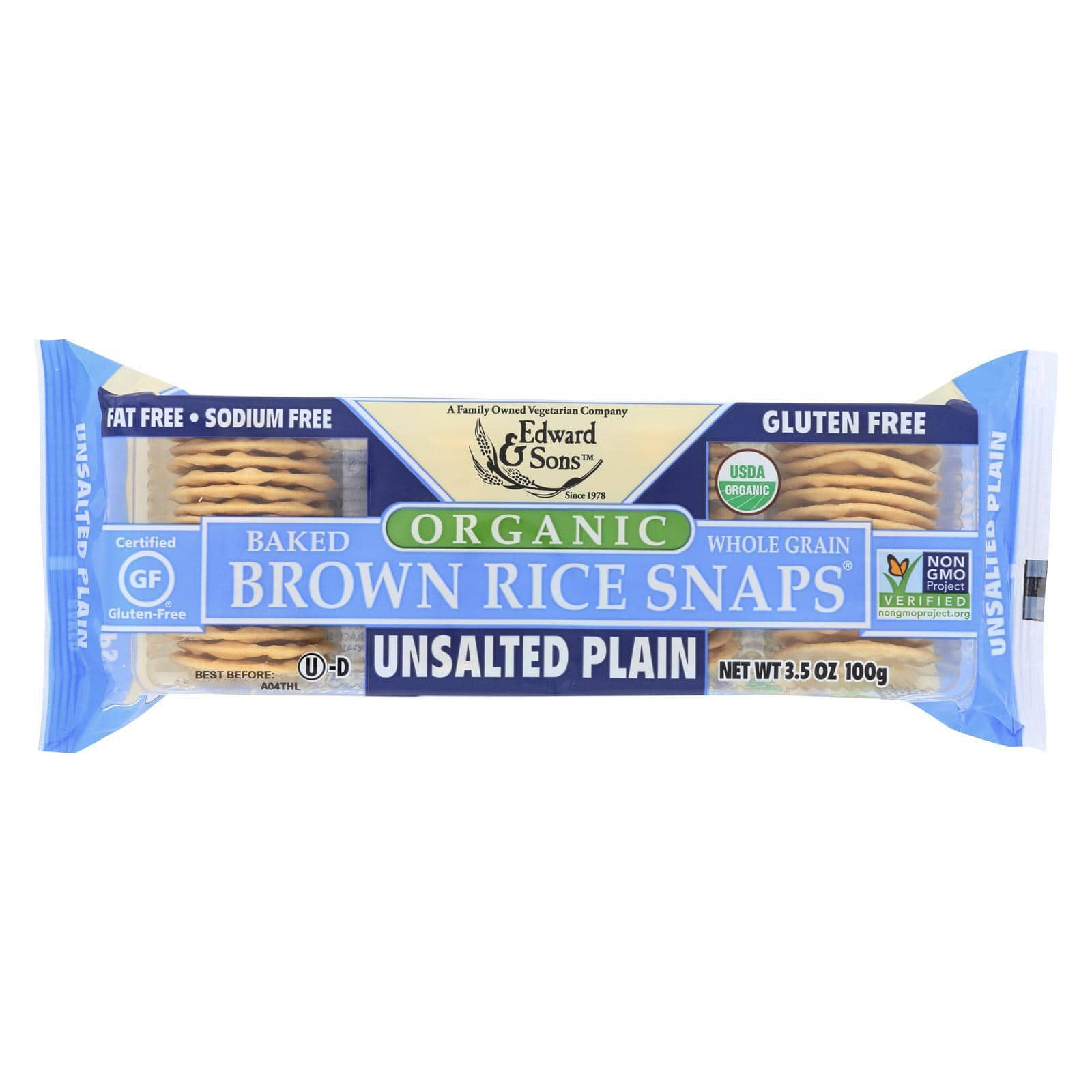 Edward And Sons Crackers & Crispbreads Edward And Sons Brown Rice Snaps - Unsalted Plain - Case Of 12 - 3.5 Oz.