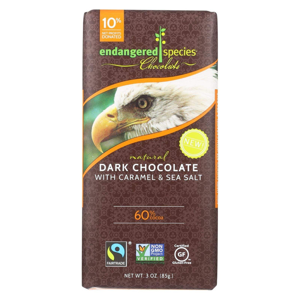 Endangered Species Chocolate Chocolate Endangered Species Chocolate Bar - Dark Chocolate - Caramel - Sea Salt - 3 Oz - Case Of 12